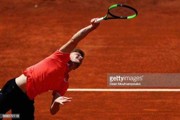 David Goffin of Belgium serves in his match against Leonardo Mayer of Argentina during day two of the Internazionali BNL d'Italia 2018 tennis at Foro...