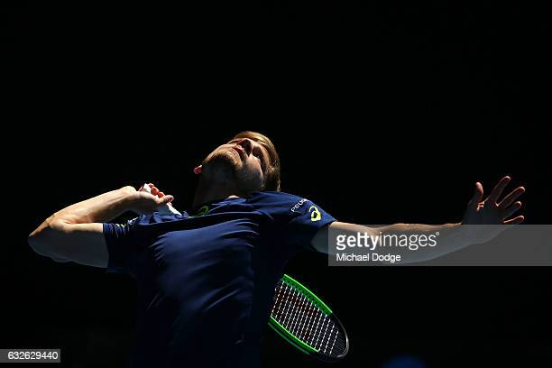 David Goffin of Belgium serves in his quarterfinal match against Grigor Dimitrov of Bulgaria on day 10 of the 2017 Australian Open at Melbourne Park...