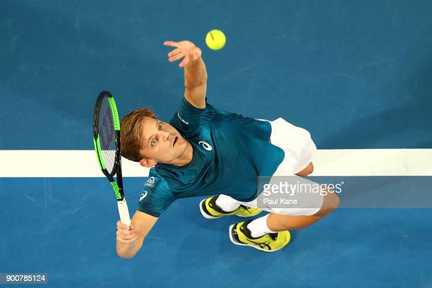 David Goffin of Belgium serves in his singles match against Thanasi Kokkinakis of Australia on day five of the 2018 Hopman Cup at Perth Arena on...
