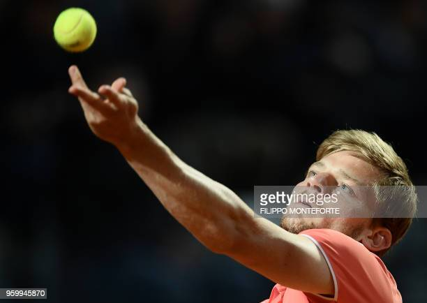 David Goffin of Belgium serves the ball to Alexander Zverev of Germany during the ATP Tennis Open tournament in Rome at the Foro Italico on May 18...