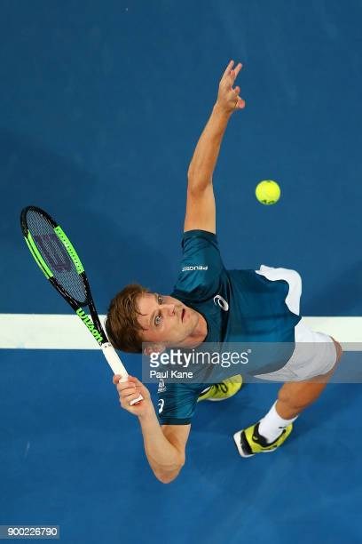 David Goffin of Belgium serves to Alexander Zverev of Germany in the mens singles match on day 3 during the 2018 Hopman Cup at Perth Arena on January...