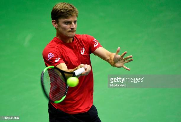 David Goffin of Belgium vs Attila Balazs pictured during the Davis Cup World Group first round match between Belgium and Hungary on febuari 2 2018 in...