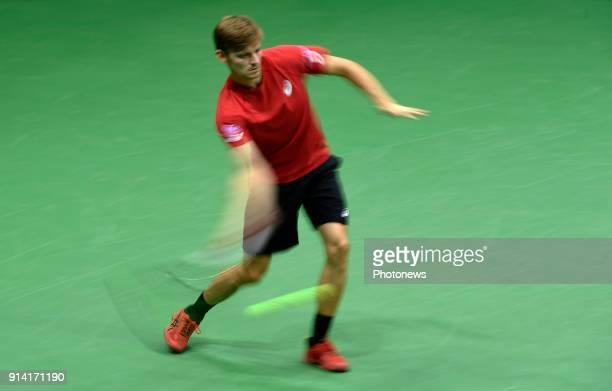 David Goffin of Belgium vs Fucsovics Marton pictured during the Davis Cup World Group first round match between Belgium and Hungary on februari 4...