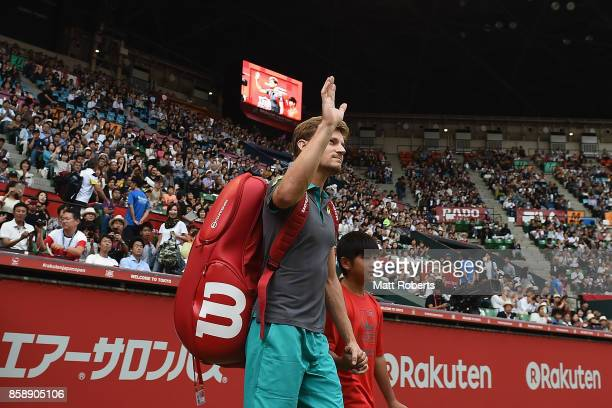 David Goffin of Belgium walks on the court prior to his men's final match against Adrian Mannarino of France during day seven of the Rakuten Open at...