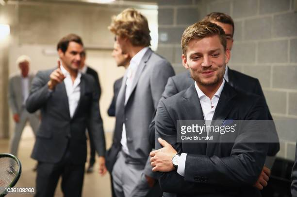 David Goffin of Team Europe waits backstage to be unveiled at the official welcome ceremony prior to the Laver Cup at the United Center on September...