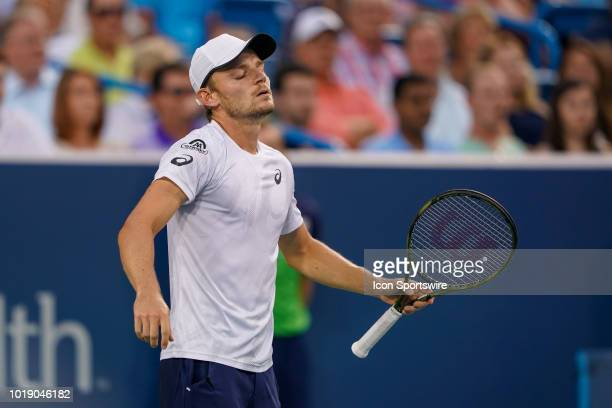 David Goffin reacts during the semifinal match at the Western Southern Open at the Lindner Family Tennis Center in Mason Ohio on August 18 2018