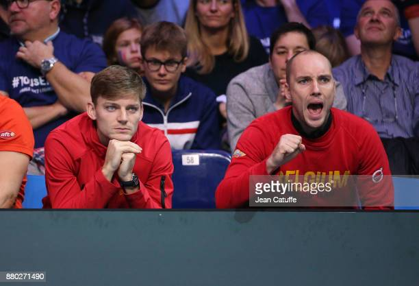 David Goffin Steve Darcis of Belgium during the doubles match on day 2 of the Davis Cup World Group final between France and Belgium at Stade Pierre...