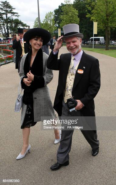 David Gold and fiancee Lesley arrive for the second day at Ascot Racecourse Berkshire