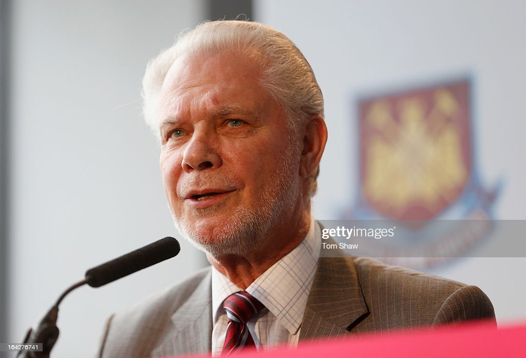 David Gold the co owner of West Ham talks to the press during the press conference to announce the future of the Olympic Stadium on March 22, 2013 in London, England. West Ham United have been announced as the main tenants of the Olympic Stadium, paying 15 million GBP upfront towards conversion costs and an annual rent of 2 million GBP. West Ham will play their home matches at the Stadium from 2016.