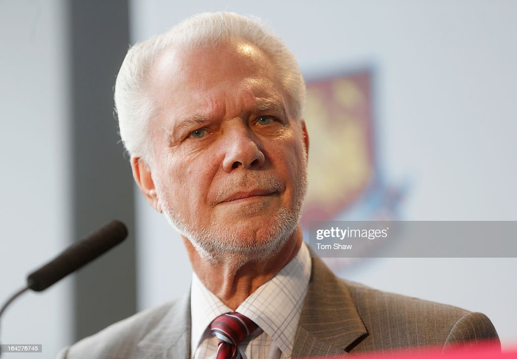 David Gold the co owner of West Ham talks to the press during the press conference to announce the future of the Olympic Stadium on March 22, 2013 in London, England. West Ham have been announced as the main tenants of the Olympic Stadium and will pay 15 million GBP upfront towards conversion costs and an annual rent of 2 million GBP.