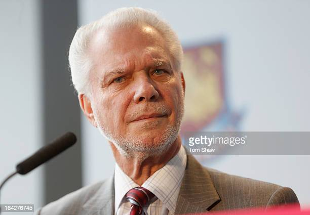 David Gold the co owner of West Ham talks to the press during the press conference to announce the future of the Olympic Stadium on March 22, 2013 in...