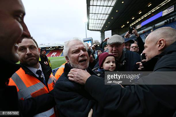 David Gold the joint West Ham Chairman celebrates his team's 5-1 victory with the travelling fans The Emirates FA Cup fifth round match between...