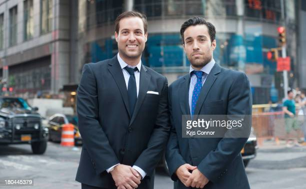 David Goldberg and Ari Goldberg ring closing bell at NASDAQ MarketSite on September 12 2013 in New York City