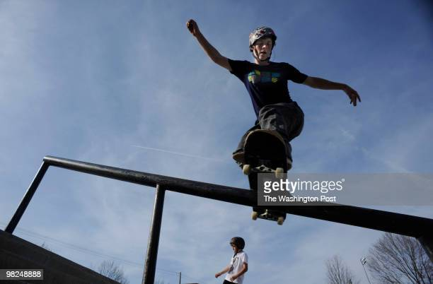David Goldberg of Brookville Maryland skates the rail at Olney Manor Skate Park on Friday April 2 2010 As area government look to cut their budget...