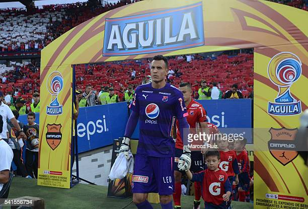 David Gonzalez of Medellin enter to the pitch prior to a second leg final match between Independiente Medellin and Junior as part of Liga Aguila I...