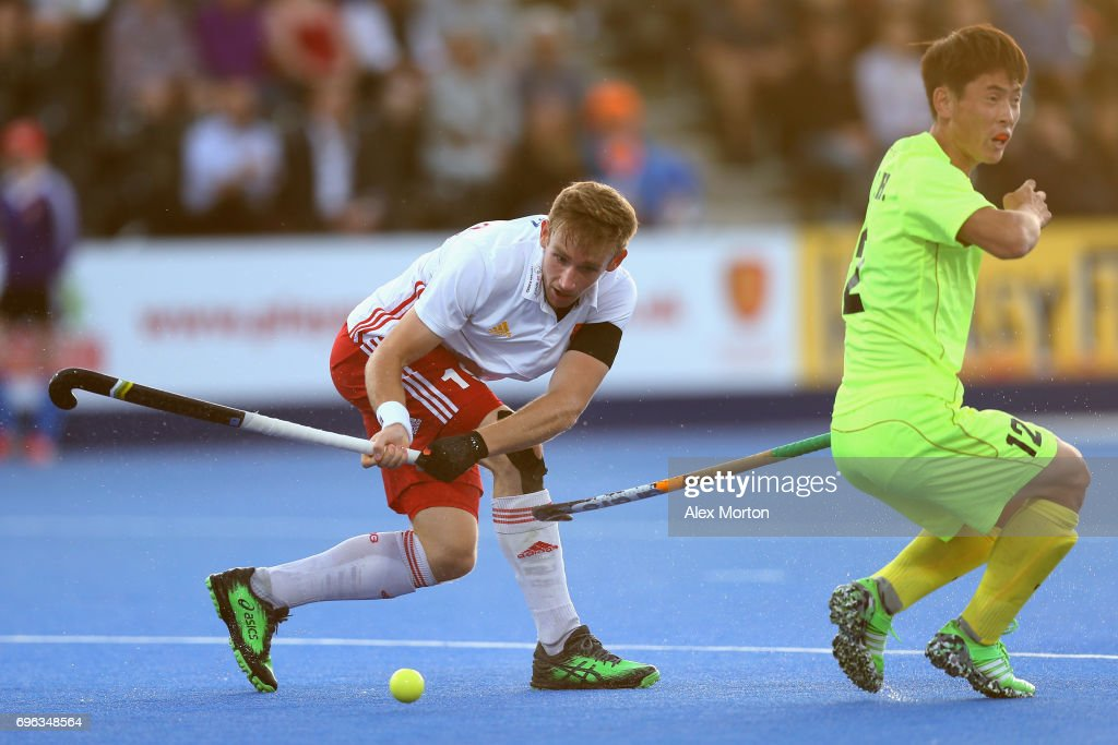 David Goodfield of England makes a pass during the Hero Hockey World League Semi Final match between England and China at Lee Valley Hockey and Tennis Centre on June 15, 2017 in London, England.