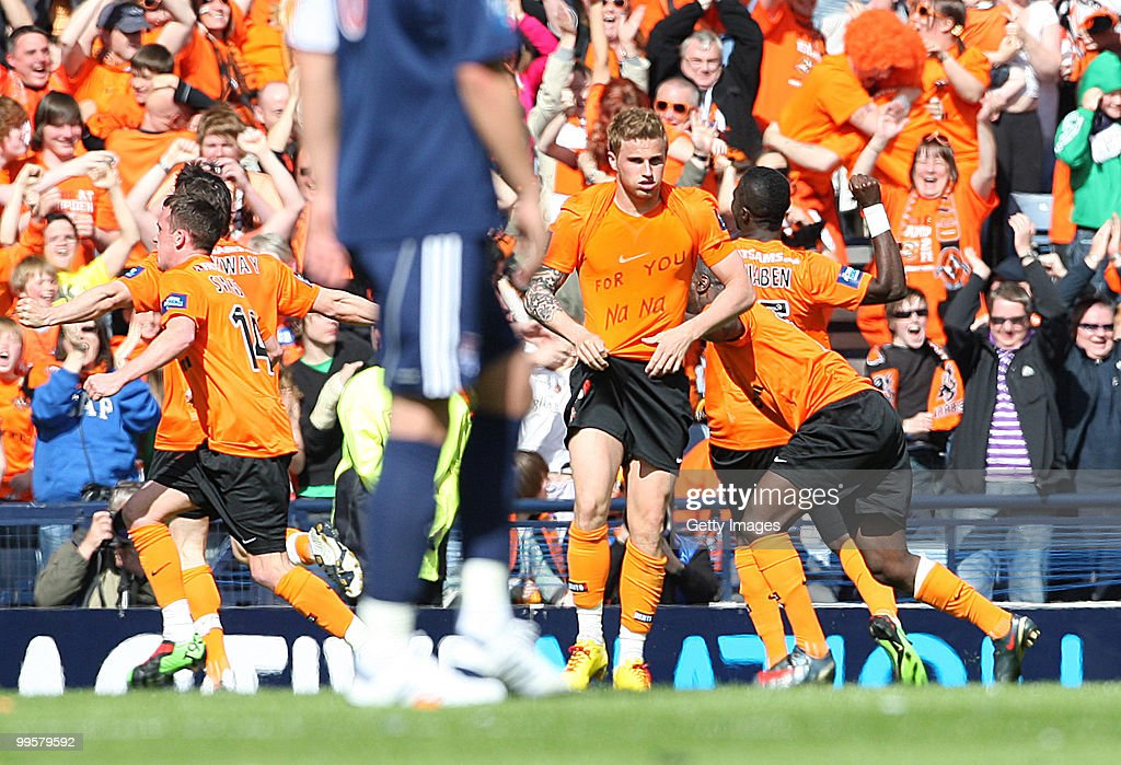 David Goodwillie of Dundee United celebrates scoring during the Active Nation Scottish FA Cup Final between Dundee United and Ross County at Hampden Stadium on May 15, 2010 in Glasgow, Scotland.