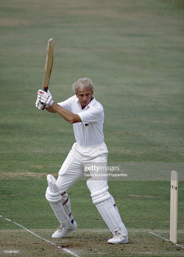 David Gower batting for England on the fourth day of the 1st Test Match between England and India at Lord's Cricket Ground in London, 30th July 1990. England won by 247 runs.