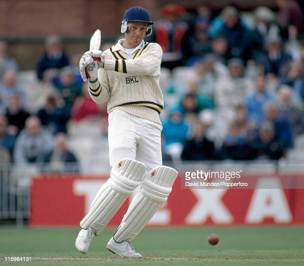 David Gower batting for Hampshire during the Benson and Hedges Cup match against Lancashire at Old Trafford Manchester on the 2nd May 1992 Hampshire...