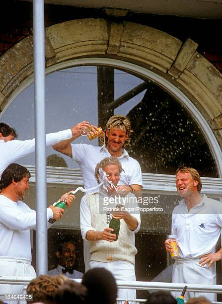 David Gower being showered with Champagne, England v Australia, 6th Test, The Oval, Sep 85.