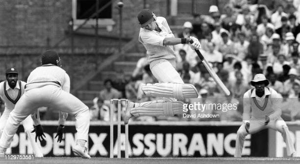 David Gower jumps away from a ball bowled by Malcolm Marshall during the 5th test England v West Indies at the Oval, London. 11th August 1984.