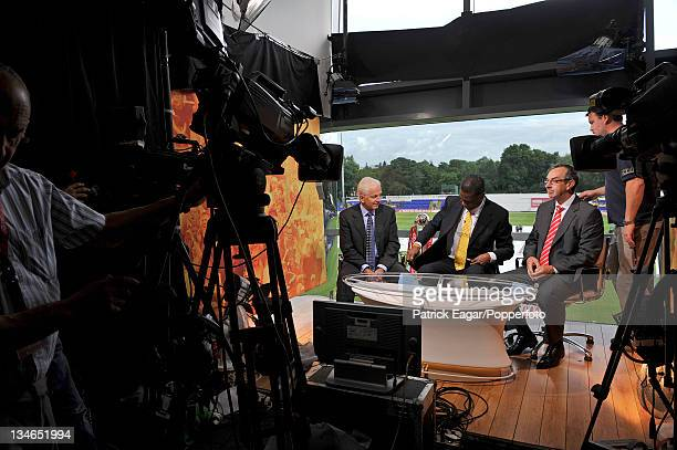 David Gower, Michael Holding and David Lloyd prepare for the day's broadcast, England v Australia, 1st Test, Cardiff, Jul 09.