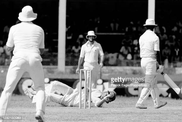 David Gower of England appeals in vain for a catch off David Murray of West Indies during the 1st Test match between West Indies and England at...