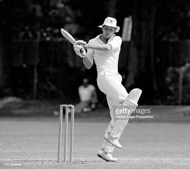 David Gower of England batting during the three-day tour match between Otago and England XI at University Oval, Dunedin, New Zealand, 28th January...
