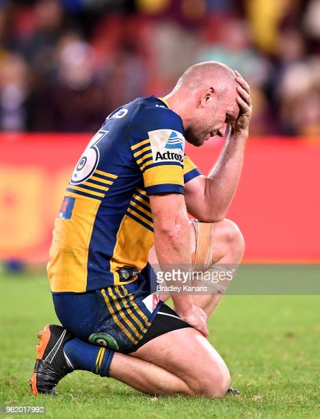 David Gower of the Eels is dejected after his team loses the round 12 NRL match between the Brisbane Broncos and the Parramatta Eels at Suncorp...