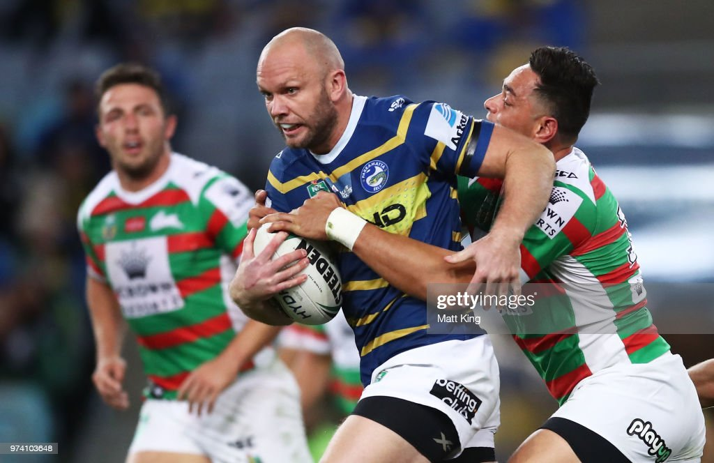 David Gower of the Eels is tackled during the round 15 NRL match between the Parramatta Eels and the South Sydney Rabbitohs at ANZ Stadium on June 14, 2018 in Sydney, Australia.