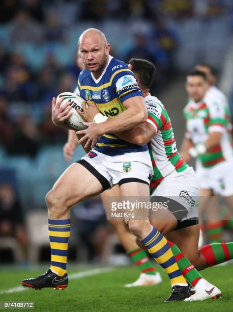 David Gower of the Eels is tackled during the round 15 NRL match between the Parramatta Eels and the South Sydney Rabbitohs at ANZ Stadium on June 14...