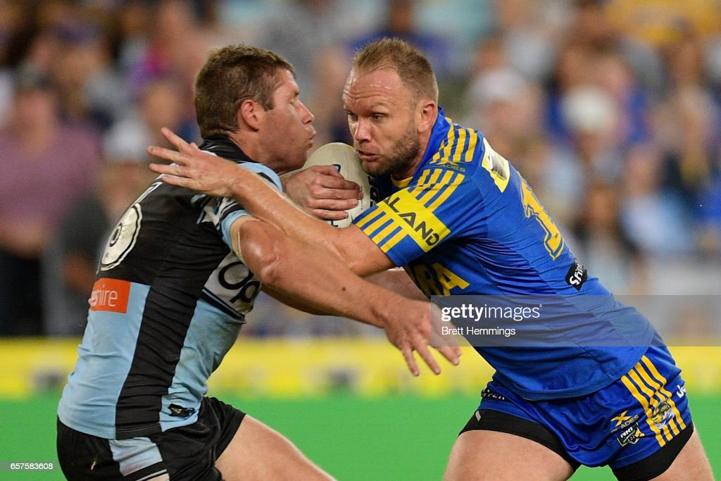 David Gower of the Eels is tackled during the round four NRL match between the Parramatta Eels and the Cronulla Sharks at ANZ Stadium on March 25, 2017 in Sydney, Australia.