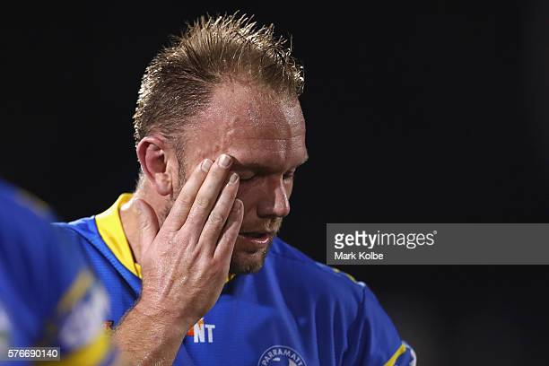 David Gower of the Eels looks dejected after defeat during the round 19 NRL match between the Penrith Panthers and the Parramatta Eels at Pepper...