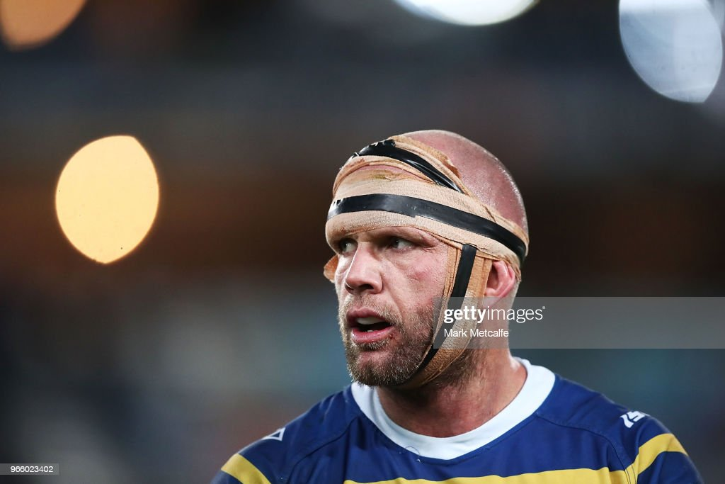 David Gower of the Eels looks on during the round 13 NRL match between the Parramatta Eels and the Newcastle Knights at ANZ Stadium on June 2, 2018 in Sydney, Australia.