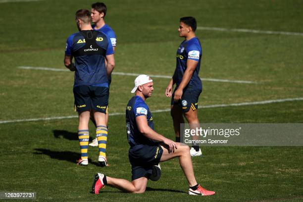 David Gower of the Eels stretches during a Parramatta Eels NRL training session at Kellyville Park on August 05 2020 in Sydney Australia
