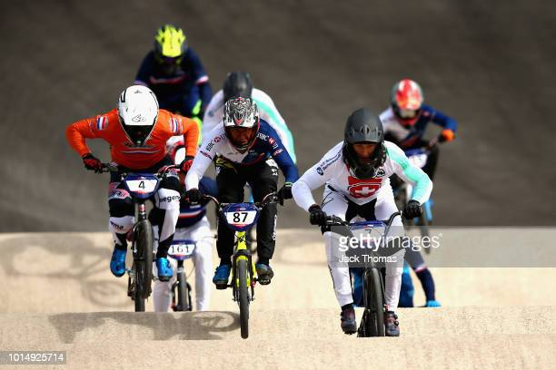 David Graf of Switzerland Kye Whyte of Great Britain and Joris Harmsen of Netherlands compete in Heat 1 of the Men's Semi Final during the BMX on Day...