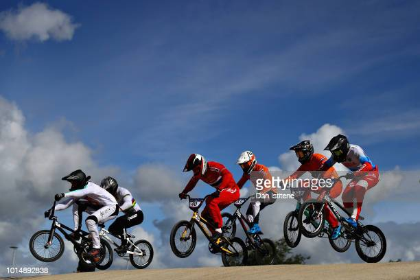 David Graf of Switzerland leads Heat 1 of the Eighth Finals during the BMX on Day Ten of the European Championships Glasgow 2018 on August 11 2018 in...