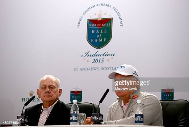 David Graham and Mark O'Meara speak at a World Golf Hall of Fame press conference ahead of the 144th Open Championship at The Old Course on July 13,...