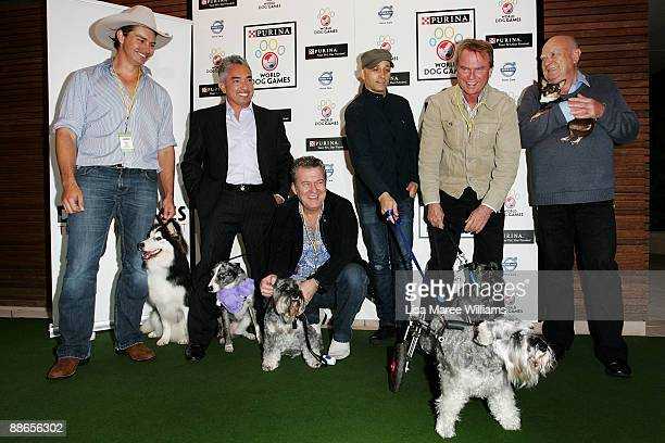 David Graham Cesar Millen Jimmy Barnes Mark Lizotte Sam Neill and Michael Chugg attend the launch of The Purina World Dog Games at Centennial Park...