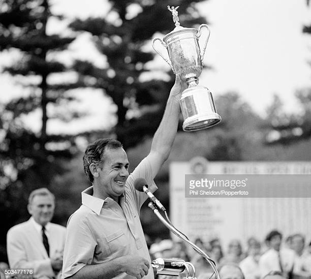 David Graham of Australia celebrates with the trophy after winning the US Open Golf Championship held at the Merion Golf Club in Pennsylvania on 21st...