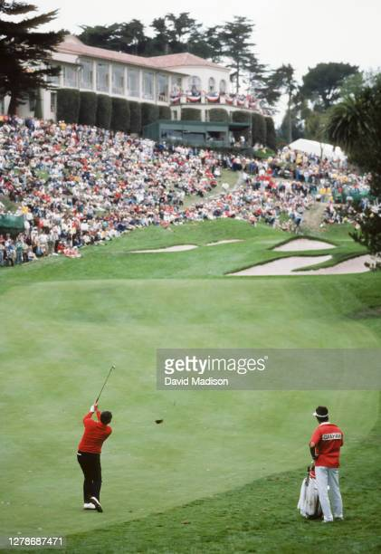 David Graham of the Australis hits his approach shot to the 18th hole during the 1987 U.S. Open golf tournament held June 18-21, 1987 at The Olympic...