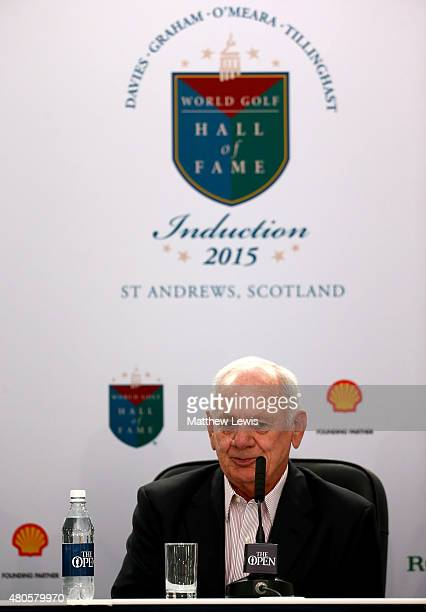 David Graham speaks at a World Golf Hall of Fame press conference ahead of the 144th Open Championship at The Old Course on July 13, 2015 in St...