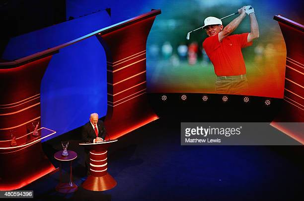 David Graham speaks on stage as he is inducted into the World Golf Hall of Fame at St Andrews University on July 13, 2015 in St Andrews, Scotland.