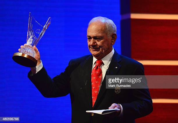 David Graham stands on stage as he is inducted into the World Golf Hall of Fame at St Andrews University on July 13, 2015 in St Andrews, Scotland.