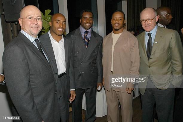 David Granger Esquire Editor in Chief Tiki Barber NY Giants Curtis Martin NY Jets Santana Moss NY Jets and Woody Johnson owner of the NY Jets