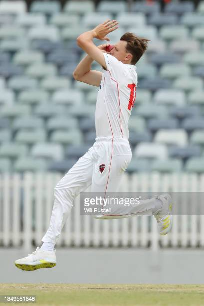 David Grant of South Australia bowls during day two of the Sheffield Shield match between Western Australia and South Australia at WACA, on October...