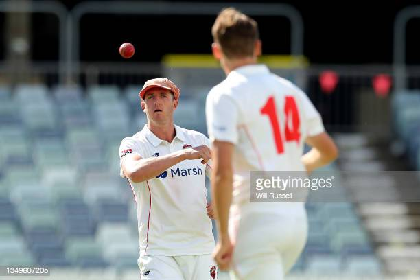 David Grant of South Australia prepares to bowl during day two of the Sheffield Shield match between Western Australia and South Australia at WACA,...