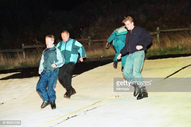 David Gray Matti Hay and Mick Maddison from Redcar preaoring for a trip down the driski slope at Eston to raise money for a cancer charity 2nd...