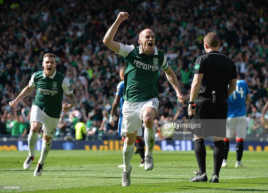 David Gray of Hibernian celebrates scoring the winning goal as Hibernian as they beat Rangers 3-2 during the William Hill Scottish Cup Final between Rangers FC and Hibernian FC at Hamden Park on May 21, 2016 in Glasgow, Scotland.