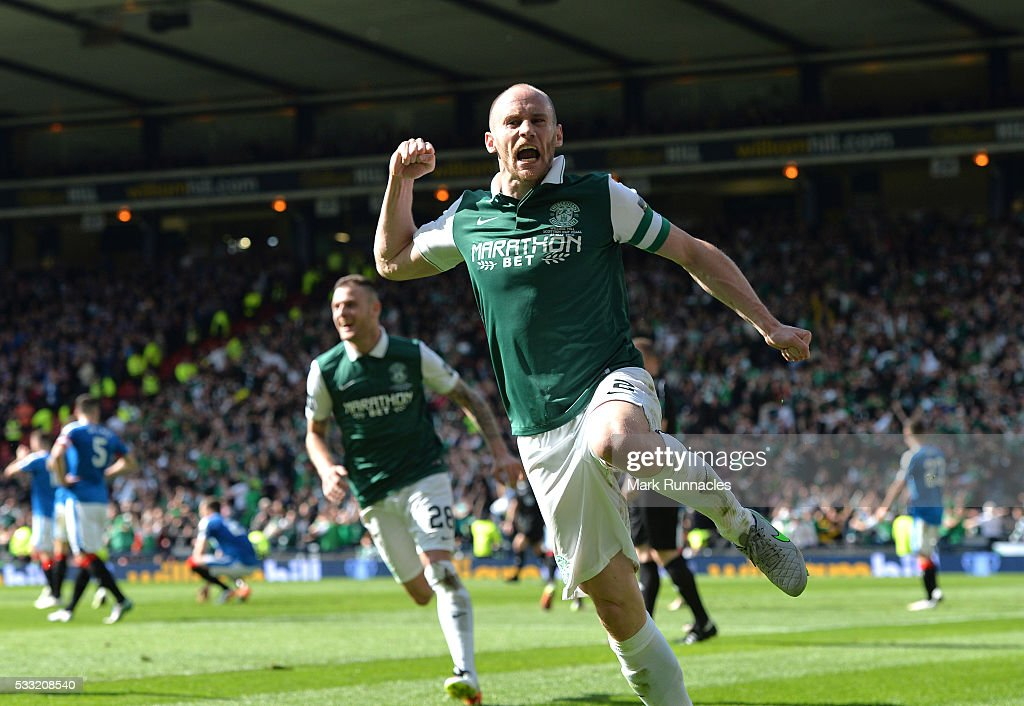 David Gray of Hibernian celebrates scoring the winning goal as Hibernian beat Rangers 3-2 during the William Hill Scottish Cup Final between Rangers FC and Hibernian FC at Hamden Park on May 21, 2016 in Glasgow, Scotland.